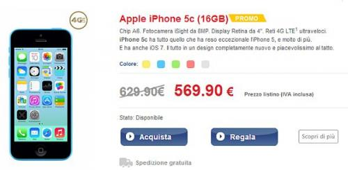 Apple iPhone 5C in promozione su Tim Outlet a 569 euro